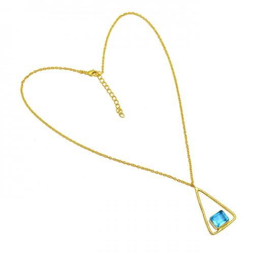 Blue Topaz Octagon Shape Gemstone 925 Sterling Silver Gold Plated Designer Necklace