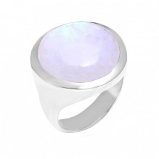 Handcrafted Designer Rainbow Moonstone Round Shape 925 Sterling Silver Ring