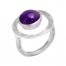 925 Sterling Silver Cabochon Round Shape Amethyst Gemstone Latest Ring Jewelry