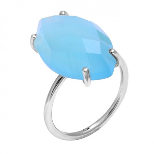 Nice Color Blue Chalcedony Marquise Shape Gemstone 925 Silver Ring Jewelry