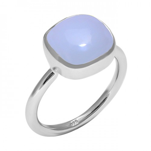 Aqua Chalcedony Cushion Cabochon Gemstone 925 Sterling Silver Ring Jewelry