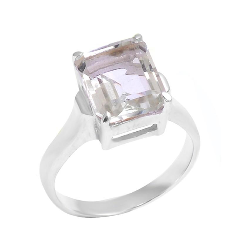 Green Amethyst Octagon Shape Gemstone 925 Silver Prong Setting Ring Jewelry
