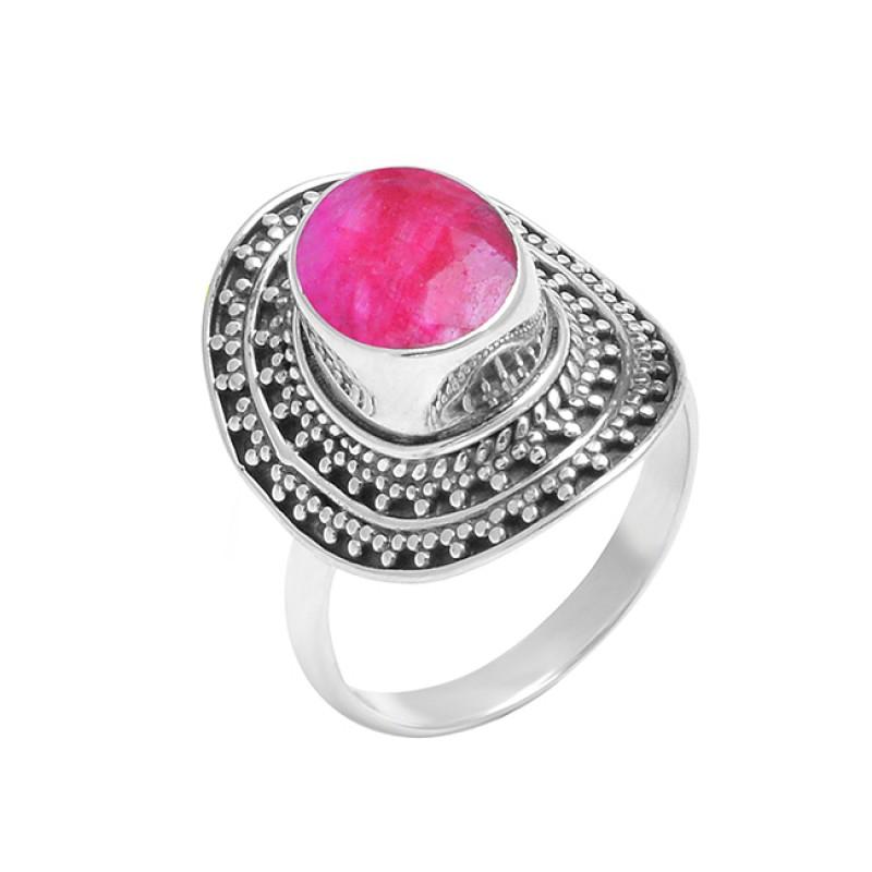 925 Sterling Silver Oval Shape Ruby Gemstone Black Oxidized Ring Jewelry