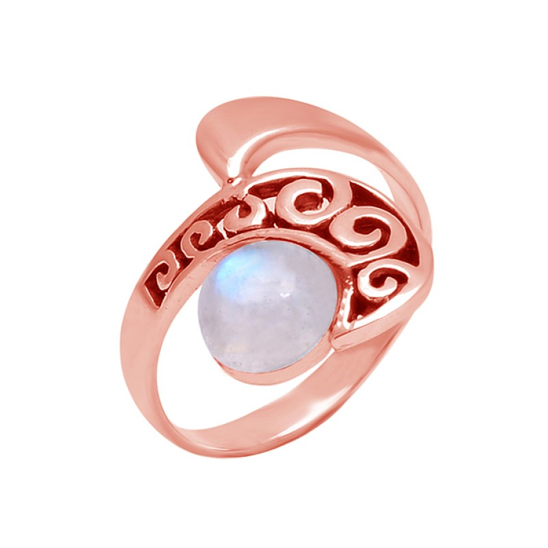 Round Cabochon Rainbow Moonstone 925 Sterling Silver Black oxidized Ring