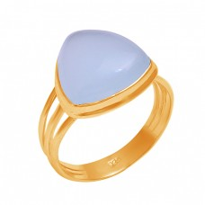 Aqua Chalcedony Triangle Shape Gemstone 925 Sterling Silver Ring Jewelry