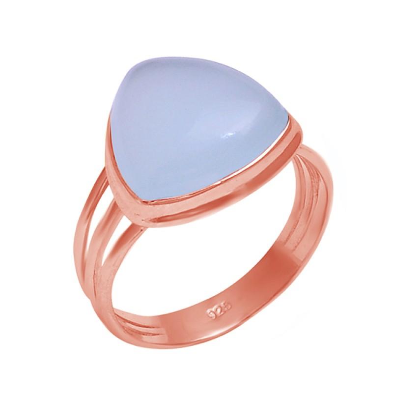 Aqua Chalcedony Triangle Shape Gemstone 925 Sterling Silver Ring Jewelry