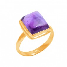 Rectangle Shape Amethyst Gemstone 925 Sterling Silver Handmade Designer Ring