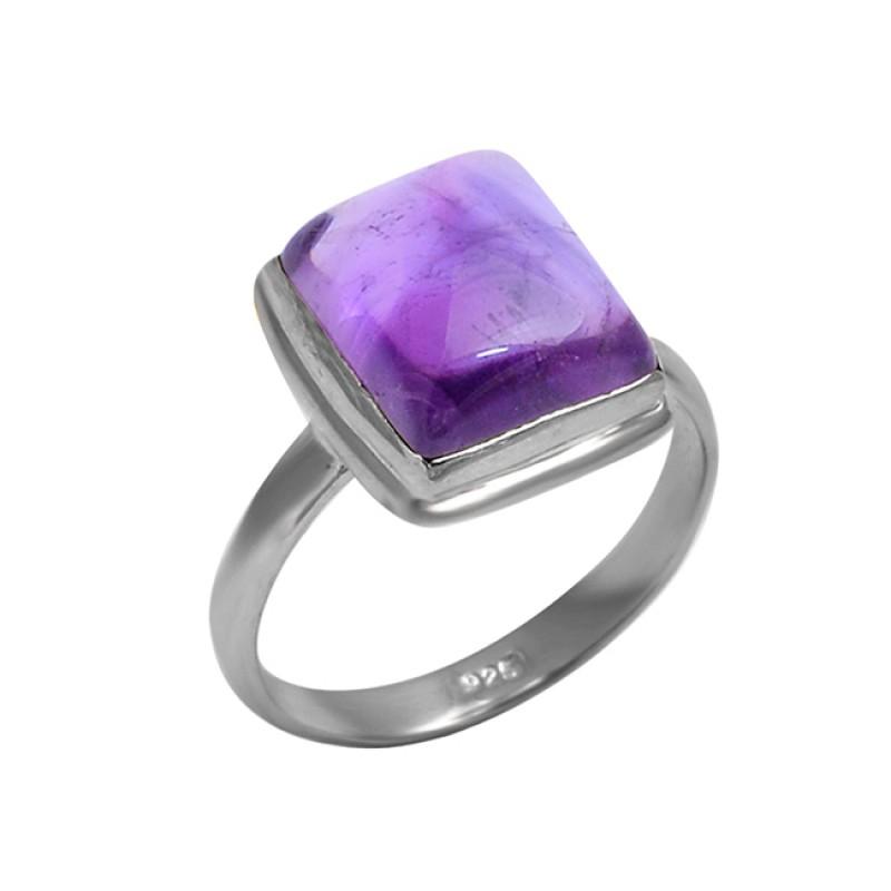 Rectangle Shape Amethyst Gemstone 925 Sterling Silver Handmade Designer Ring