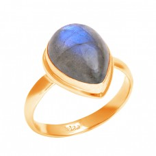 Cabochon Pear Shape Labradorite Gemstone 925 Sterling Silver Ring Jewelry