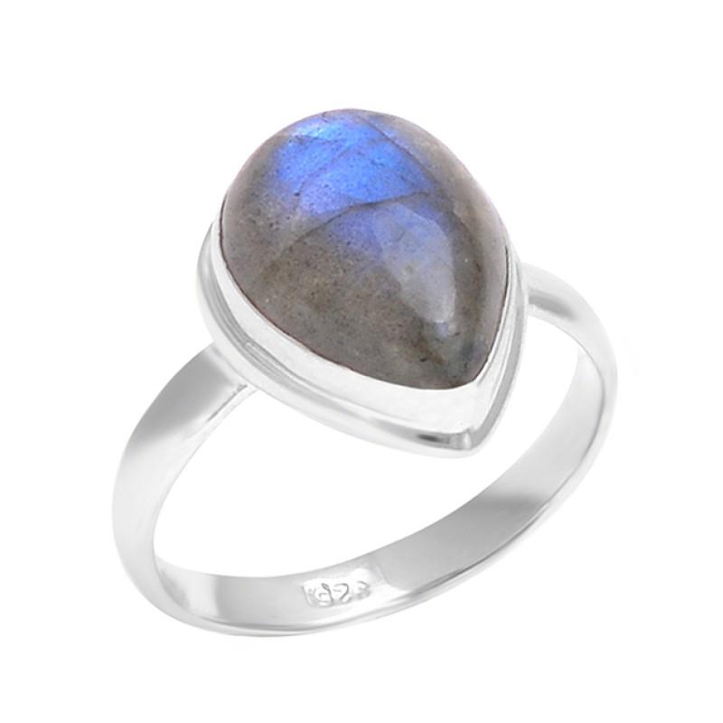 Cabochon Pear Shape Labradorite Gemstone 925 Sterling Silver Ring Jewelry