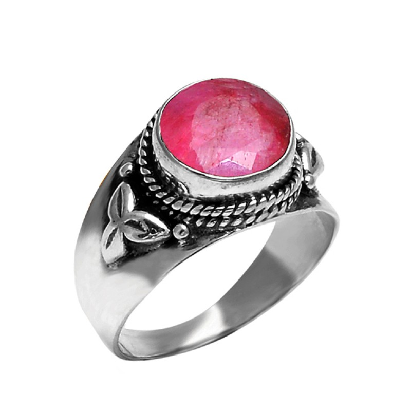 Faceted Round Ruby Gemstone 925 Sterling Silver Black Oxidized Ring Jewelry