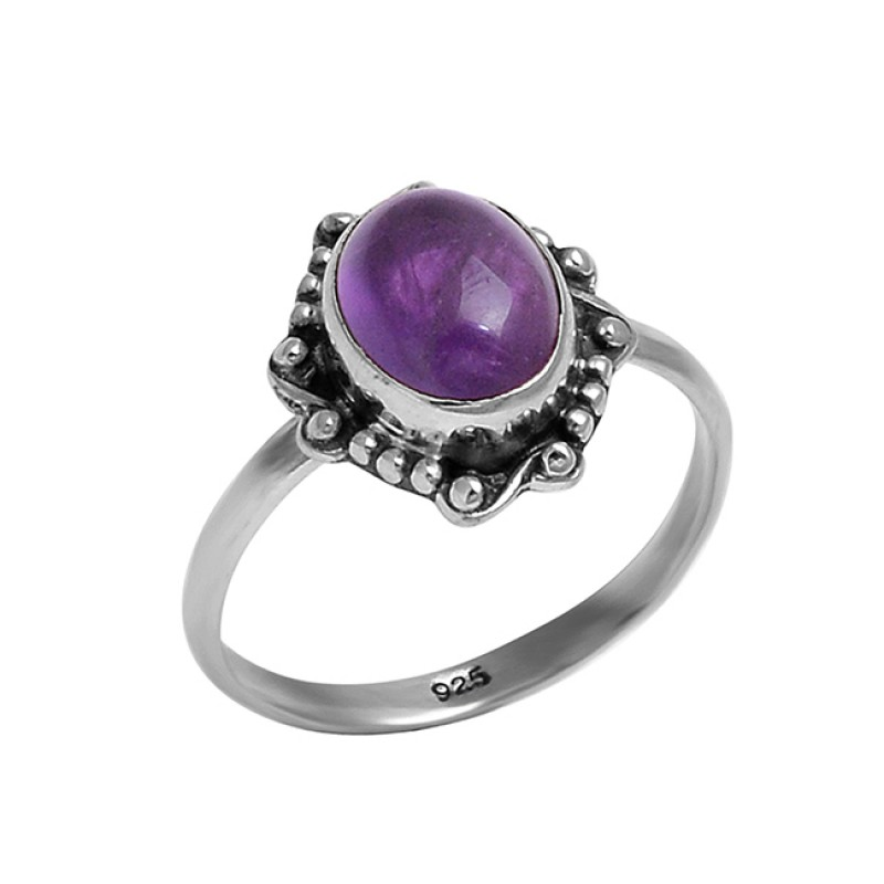 Amethyst Oval Cabochon Gemstone 925 Sterling Silver Black Oxidized Ring Jewelry