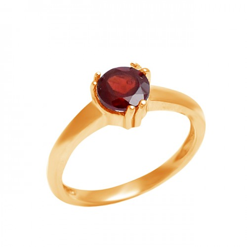 Faceted Round Shape Garnet Gemstone 925 Sterling Silver Prong Setting Ring