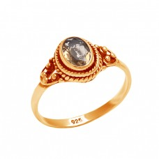 Oval Shape Citrine Gemstone 925 Sterling Silver Black Oxidized Ring Jewelry