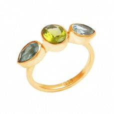 Peridot Blue Topaz Gemstone 925 Sterling Silver Designer Ring Jewelry