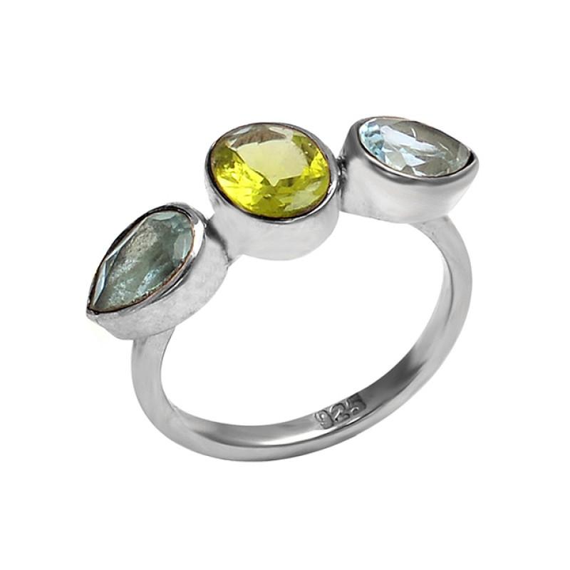 Peridot Blue Topaz Gemstone 925 Sterling Silver Designer Ring Jewelry