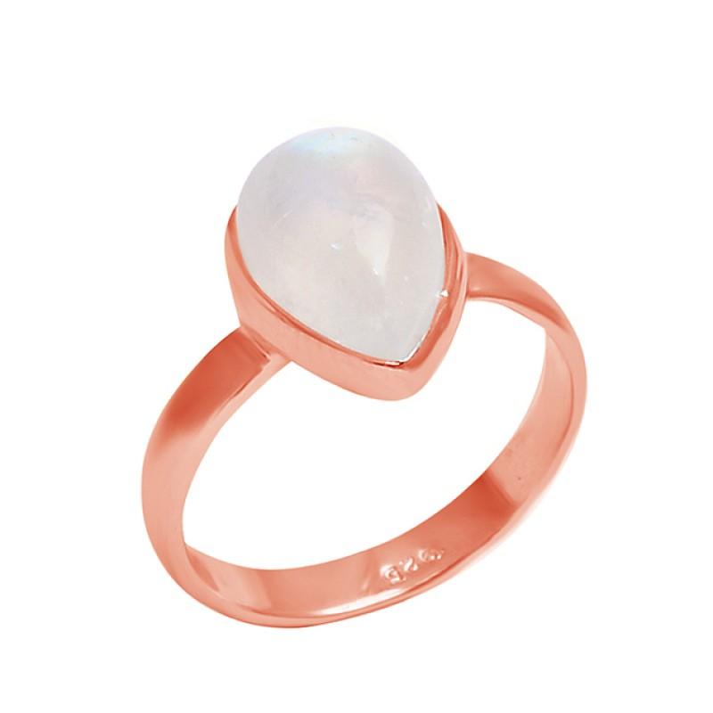 Pear Shape Rainbow Moonstone Gemstone 925 Sterling Silver Designer Ring