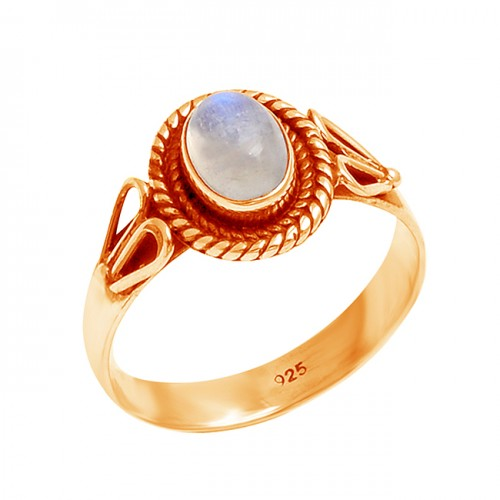 Oval Cabochon Rainbow Moonstone 925 Sterling Silver Black Oxidized Ring jewelry