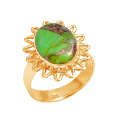 925 Sterling Silver Oval Cabochon Green Copper Turquoise Gemstone Designer Ring