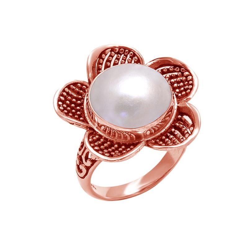 925 Sterling Silver Round Cabochon Pearl Gemstone Flower Designer Ring