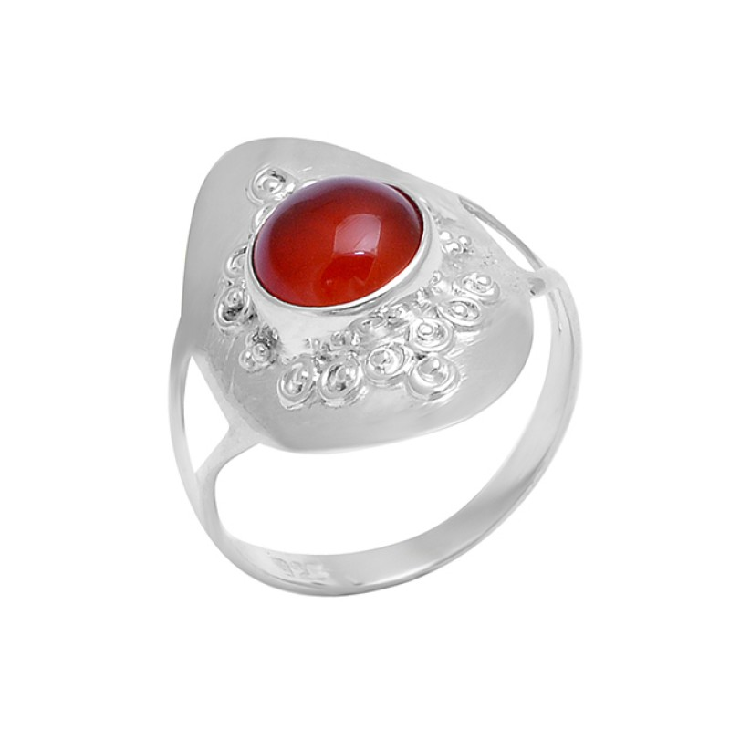 925 Sterling Silver Round Shape Carnelian Gemstone Handcrafted Designer Ring