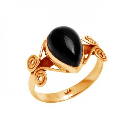 Pear Cabochon Black Onyx Gemstone 925 Sterling Silver Stylish Designer Ring