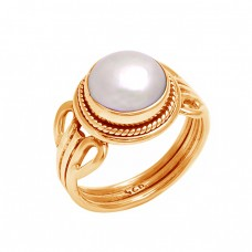 Cabochon Round Pearl Gemstone 925 Sterling Silver Handmade Designer Ring