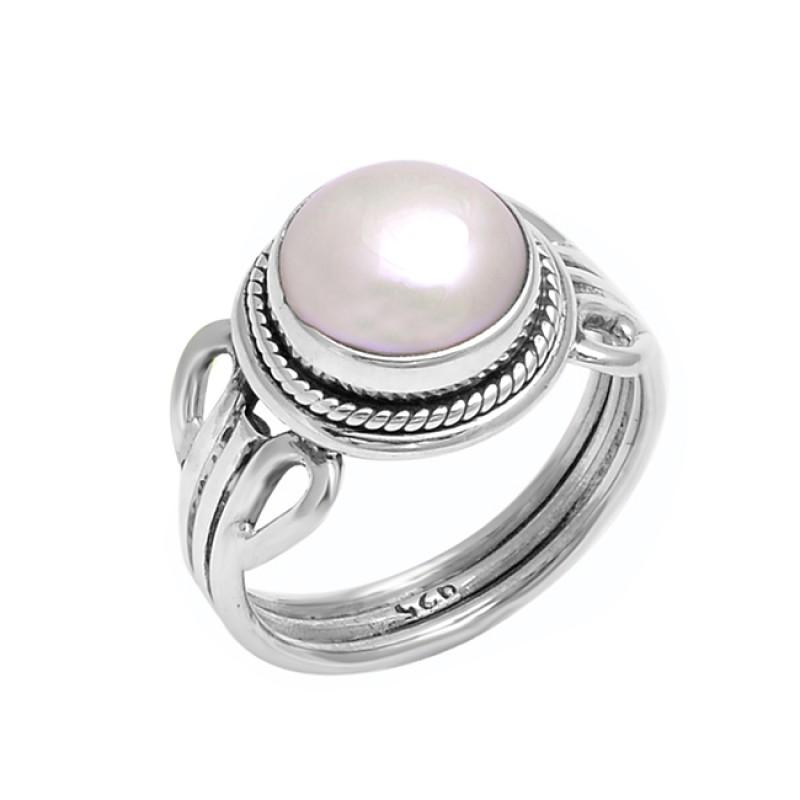 Cabochon Round Pearl Gemstone 925 Sterling Silver Handmade Designer Ring