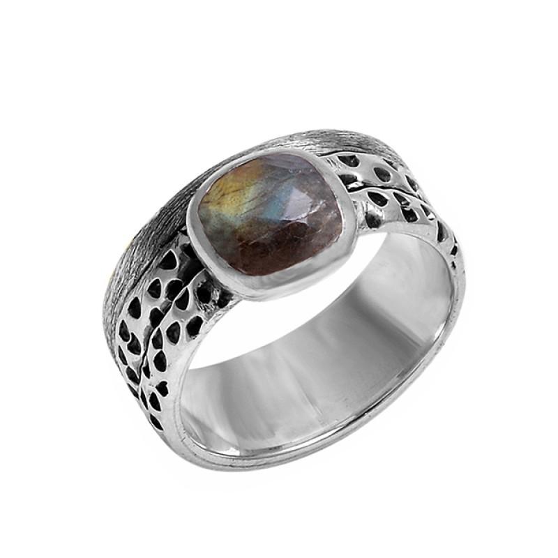 Cushion Shape Labradorite Gemstone 925 Sterling Silver Designer Ring Jewelry