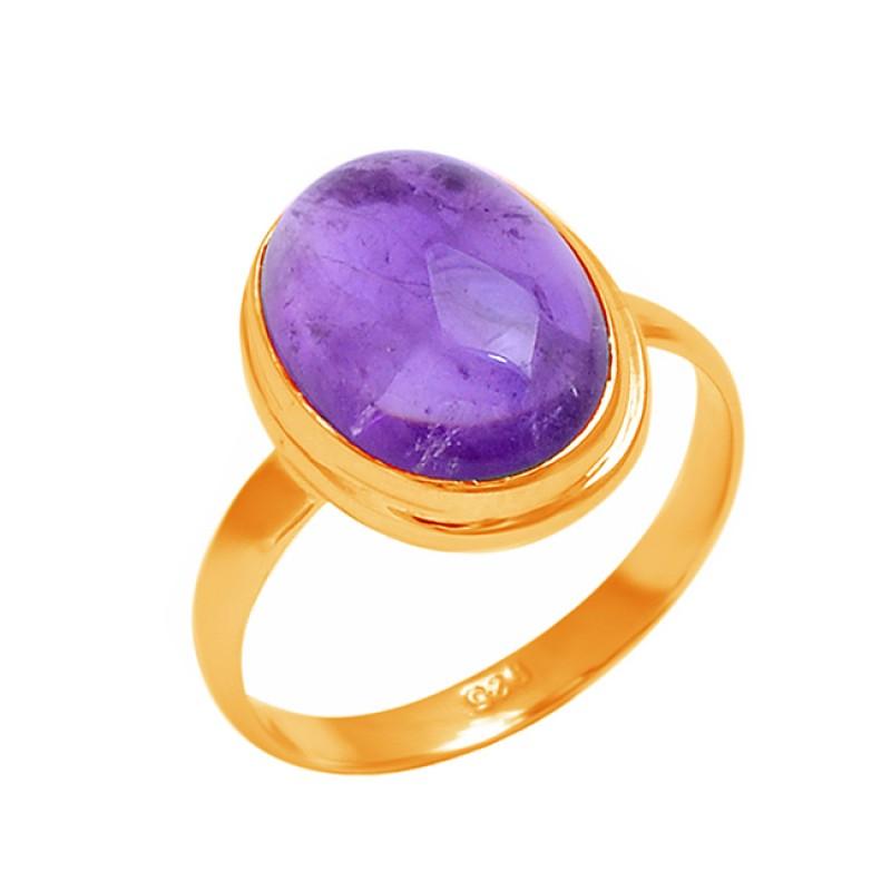 925 Sterling Silver Oval Shape Amethyst Gemstone Handmade Designer Ring