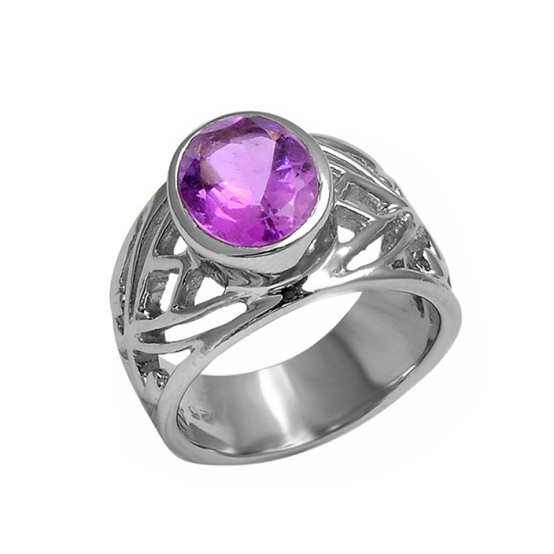 925 Sterling Silver Faceted Oval Shape Amethyst Gemstone Ring Jewelry