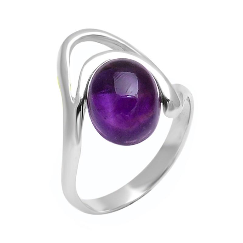 Cabochon Oval Shape Amethyst Gemstone 925 Sterling Silver Band Designer Ring