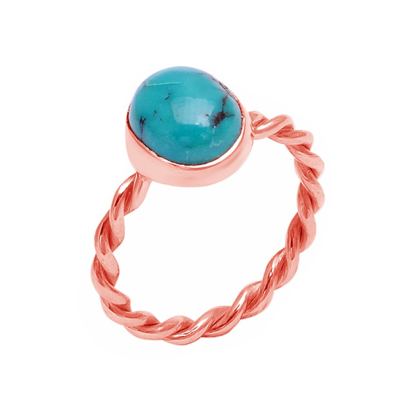 Oval Shape Turquoise Gemstone 925 Sterling Silver Band Designer Ring Jewelry