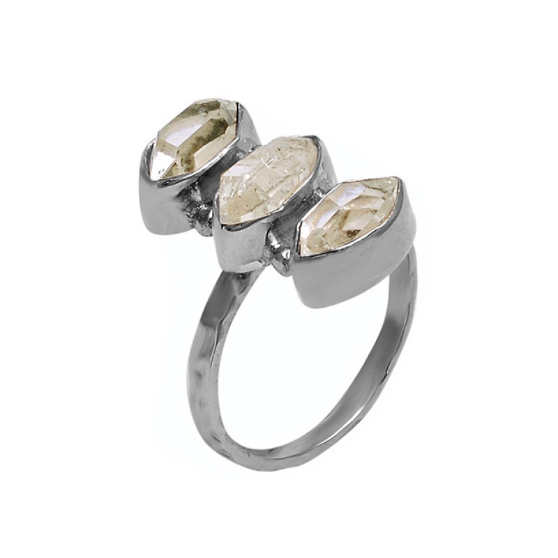 Faceted Marquise Shape Citrine Gemstone 925 Sterling Silver Ring Jewelry