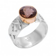 Round Shape Smoky Quartz Gemstone 925 Sterling Silver Designer Ring Jewelry