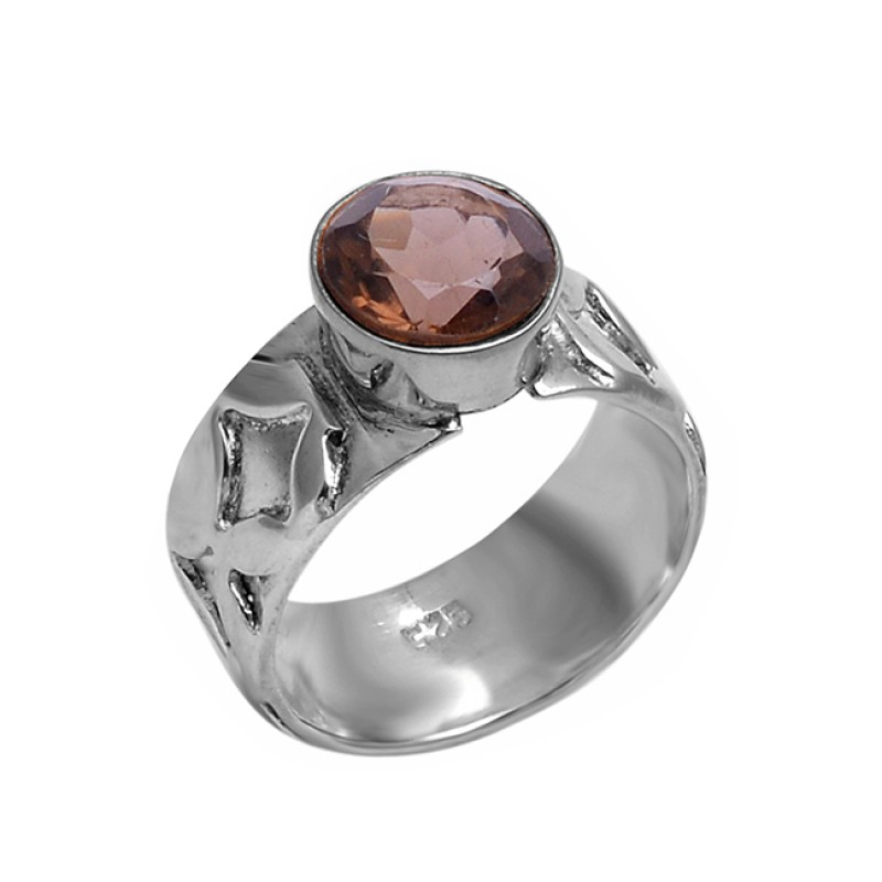 Round Shape Smoky Quartz Gemstone 925 Sterling Silver Designer Ring Jewelry