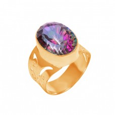 Oval Shape Mystic Topaz Gemstone 925 Sterling Silver Stylish Ring Jewelry