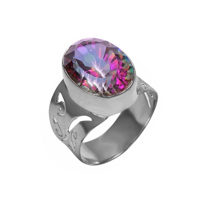 Oval Shape Mystic Topaz Gemstone 925 Sterling Silver Stylish Ring Jewelry