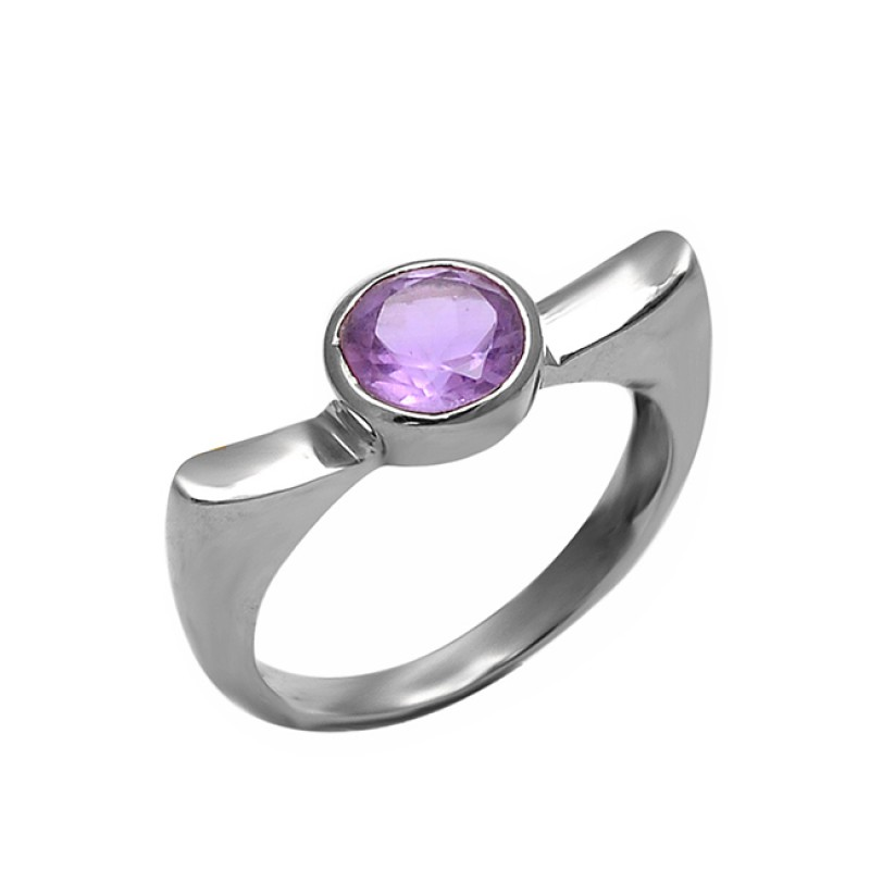 Round Shape Amethyst Gemstone 925 Sterling Silver Band Designer Ring Jewelry