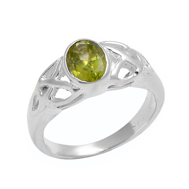 Faceted Oval Shape Peridot Gemstone 925 Sterling Silver Designer Ring Jewelry