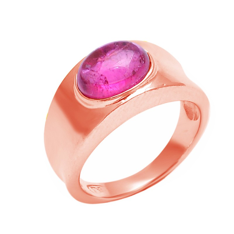 Oval Cabochon Ruby Gemstone 925 Sterling Silver Stylish Ring Jewelry