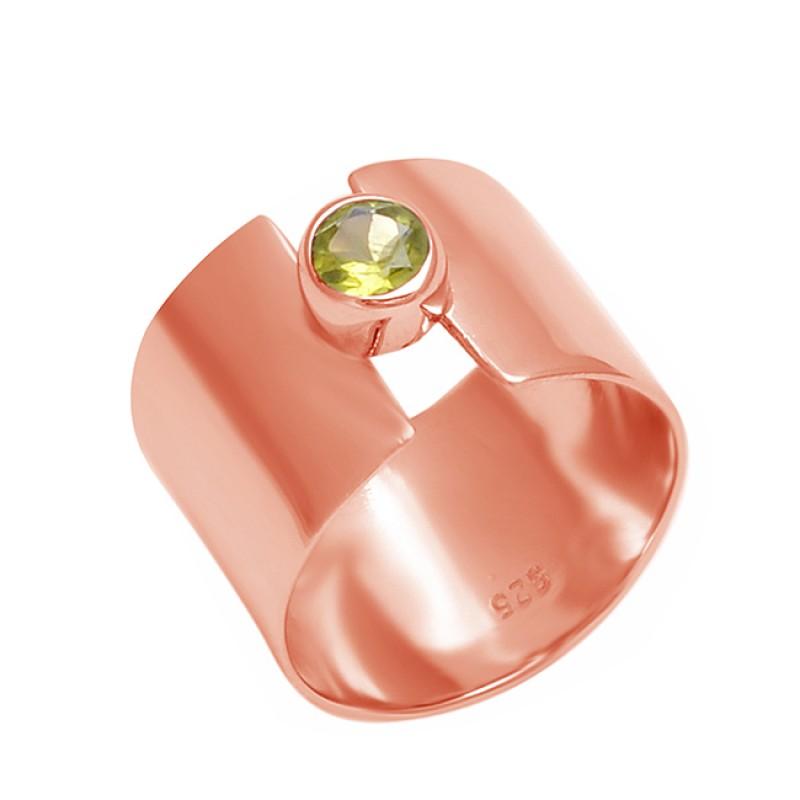 Round Shape Peridot Gemstone 925 Sterling Silver Handmade Designer Ring