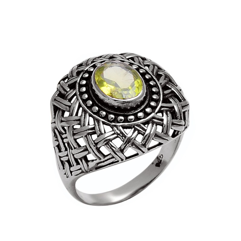 Filigree Style Oval Shape Peridot Gemstone 925 Sterling Silver Ring Jewelry