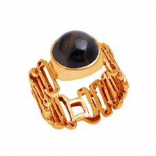 Round Cabochon Labradorite Gemstone 925 Sterling Silver Designer Ring Jewelry