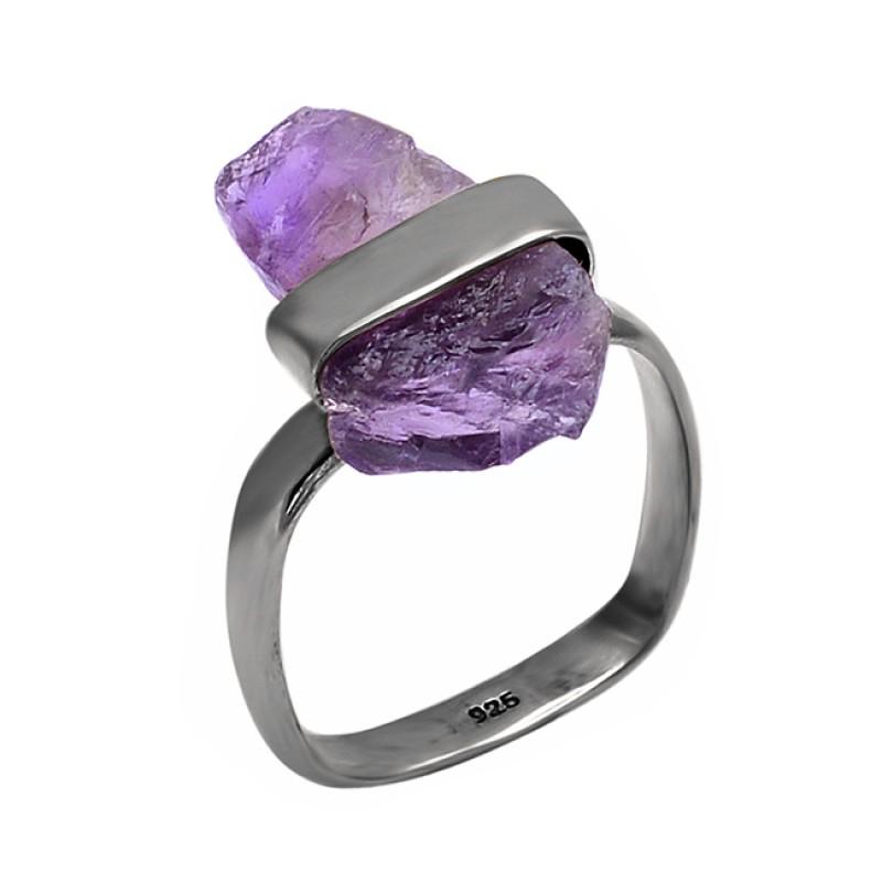 Raw Material Amethyt Rough Gemstone 925 Sterling Silver Handmade Designer Ring