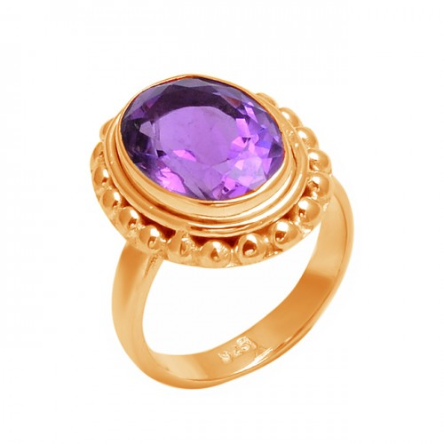 925 Sterling Silver Oval Shape Amethyst Gemstone Handmade Designer Ring Jewelry
