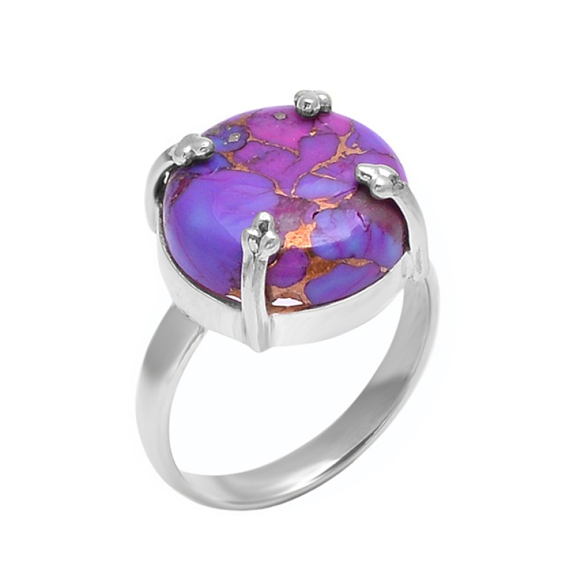 Round Shape Purple Copper Turquoise Gemstone 925 Sterling Silver Prong Setting Ring