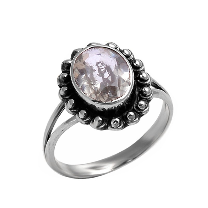 Oval Shape Green Amethyst Gemstone 925 Sterling Silver Black Oxidized Ring Jewelry