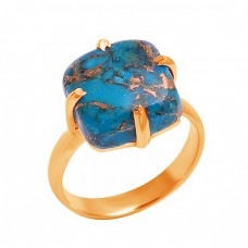 Cushion Shape Blue Copper Turquoise Gemstone 925 Sterling Silver Ring Jewelry