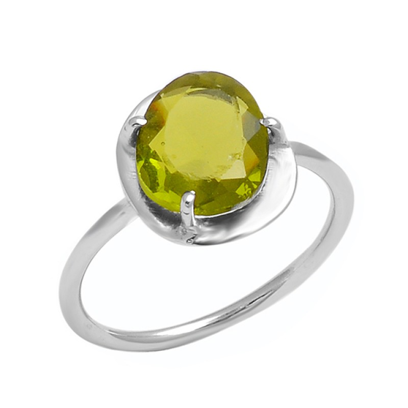 Peridot Oval Shape Gemstone 925 Sterling Silver Handcrafted Designer Ring